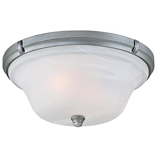 Westinghouse 6342300 Tolbut Two-Light Indoor Flush Ceiling Fixture, Antique Silver Finish with White Alabaster Glass