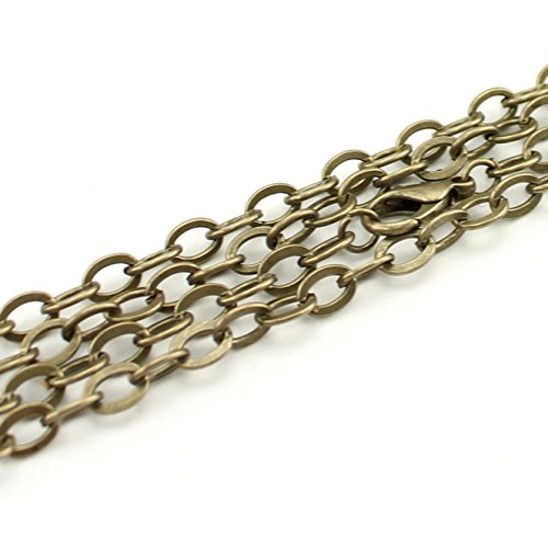 6 Brass Chain - 5 CleverDelights 5x7mm Flat Oval Link Necklaces - Antique Bronze Color - 24