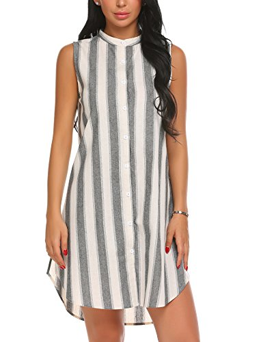 Ekouaer Stripe Cotton & Linen Shift Dress Victorian Nightgowns Sleeveless PajEKa Dress for Women,Black-yarn Dyed Fabric,X-Large