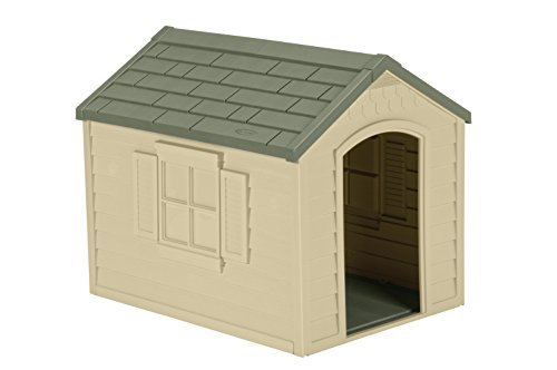 Suncast Outdoor Dog House with Door - Water Resistant Dog House for...