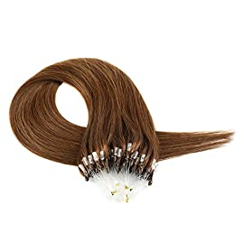 Loop Hair Extension, Grammy 20″ Micro Loop Ring 100% Remy Human Hair Extensions 50g 100s/Pack #1 Off Black