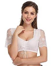 KOJOOIN Klederdracht Dames Dirndlblouse - blouse met korte mouwen/halve mouwen voor Oktoberfest 100% katoen (verpakking MEERWEG)