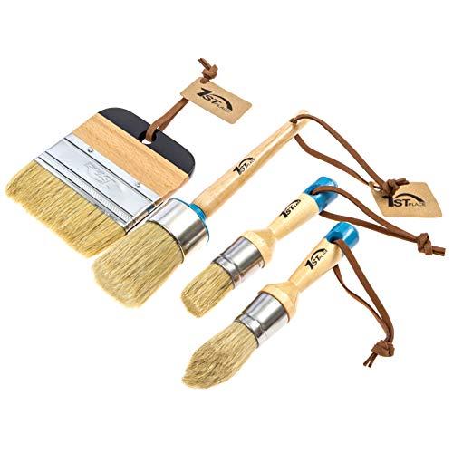 1st Place Chalk amp Wax Natural Bristle Brush Set  Round Brush 2 Piece Brush Set amp 4quot Flat Brush  4 Brushes