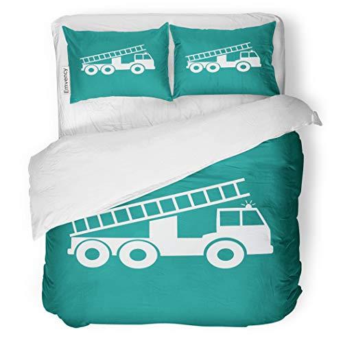 Set Red Black Fire Truck White Alarm Blaze Car Decorative Bedding Set with Pillow Case Twin Size ()