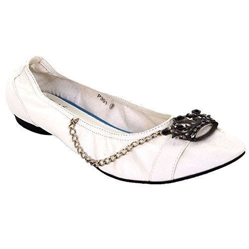 SAPHIR Damen Kunstleder Ohne Bügel Mit juwelen besetzt Krone Kette Damen weiß Schuhe Flache Weiß