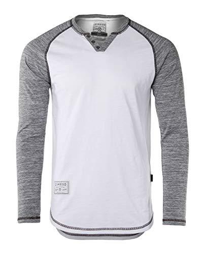 ZIMEGO Mens Long Sleeve Baseball Raglan V-Neck Henley Round Bottom T-Shirt White/Heather Grey