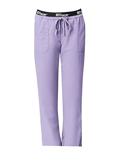 Pkt Drawstring (Grey's Anatomy 4275 3 Pkt Logo Waist Pant with Drawstring (Lilac, XL))