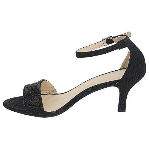 Shelikes Womens Mid Heel Diamante Strap Shoes UK 3-8 Black SRM76uT