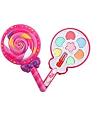 Per Newly Makeup Set with Spinning Lollipop Box, Vanity Cases Pretend Play Cosmetic Washable Real Girl Makeup Toy for Little Girls & Kids