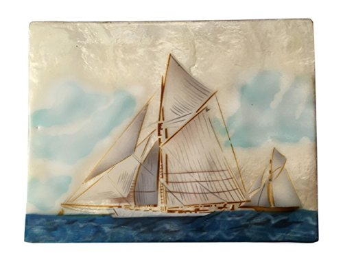 Printed Capiz Shell (Kubla Craft Clipper Ships Capiz Shell Keepsake Box - 6 Inches X 8 Inches)