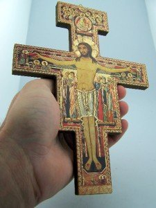 Gold Foil on Wood the San Damiano Cross of St Francis of Assisi, 8 1/4 Inch