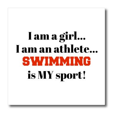 3dRose Xander inspirational quotes - I am a girl, I am an athlete, swimming is my sport, black red letters - 10x10 Iron on Heat Transfer for White Material (ht_265924_3)