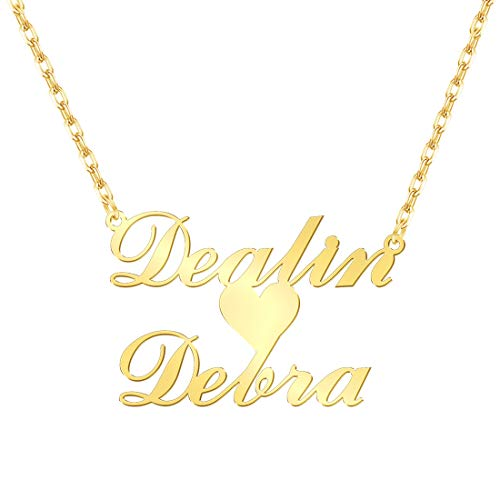 (Name Necklace Personalized, Custom Name Plate with Heart 18K Gold Jewelry Gift for)