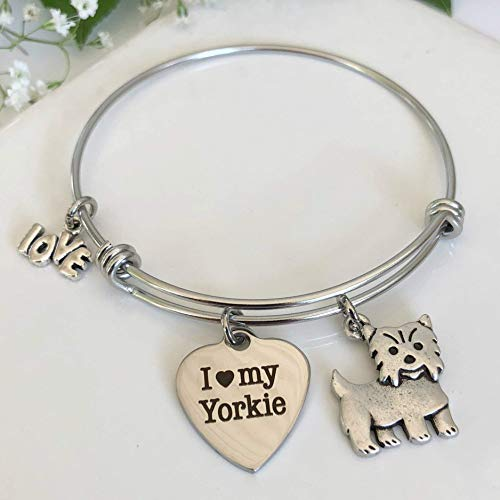 Yorkie Bracelet - Charm Bangle for Yorkshire Terrier Dog Owners - Pet Themed Jewelry ()