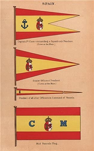 España banderas. Capitán colgante de 1ª clase. Oficial Superior. Correo Barcos bandera – 1916 – Old Vintage Print – Lienzo impresiones de España: Amazon.es: Hogar