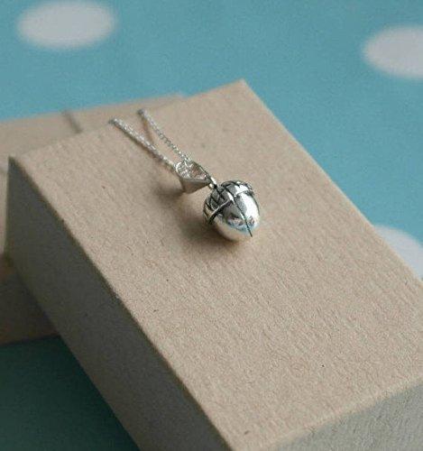 925 Sterling silver acorn necklace - Autumn woodland pendant czV1eENN