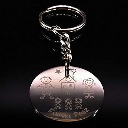 Amazon.com : Rarido Love Stainless Steel Car Keychain Family ...