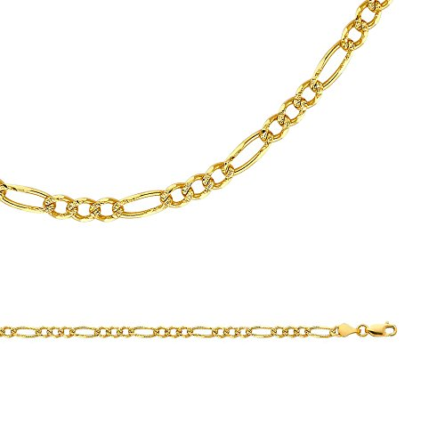 Solid 14k Yellow Gold Chain Figaro Necklace Pave Link Diamond Cut 3 + 1 Style Genuine 4 mm 24 inch by ZenJewels