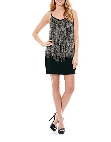 Laundry by Shelli Segal Tank Dress with Beaded Fringe - Black - 6 ()