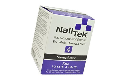Pro Pack Nail Tek Xtra 4 For Weak and Damaged Nails, resistant nails highly effective treatment designed for nails resistant to conventional therapies - Value 4 Pack 4 x 0.5oz/15ml (Best Treatment For Soft Nails)