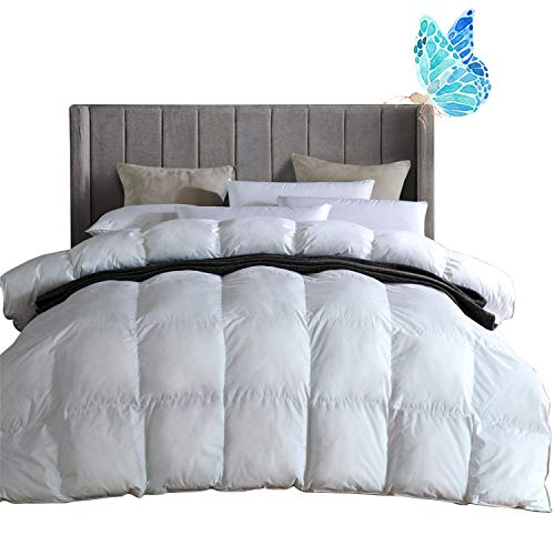 King Comforter Duvet Insert, Super Comfy All Season Goose Down and Feather Comforter with 100% Egyptian Cotton - Down Proof Cover, Hypoallergenic Quilted Comforter(White,106 x 90 inches)