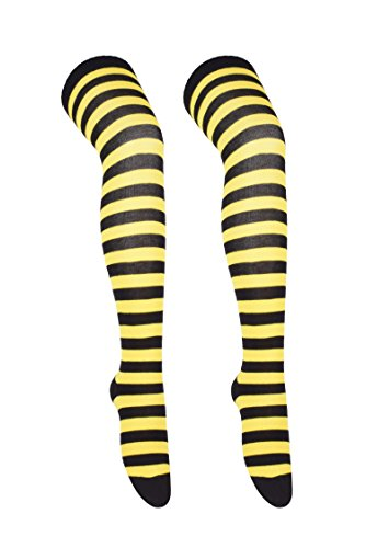 Womens Over Knee Stockings Socks Thigh High Leg Warmers yellow and black stripe (Black Striped Leg Warmers)