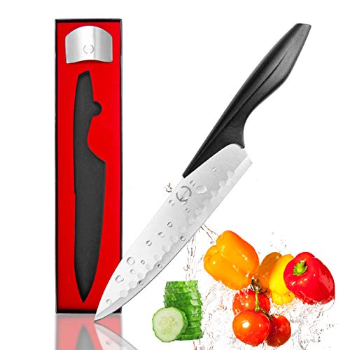 Suvac Chef Knife Professional 8 Inch Kitchen Knife with Finger Guard Protector a Multipurpose Stainless Steel Chefs Knife with Comfortable Handle ()