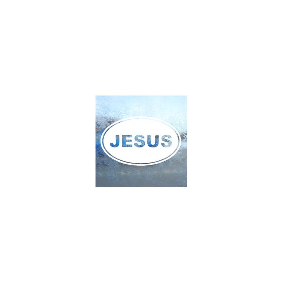 Jesus Euro Ovel White Decal Car Laptop Window Vinyl White