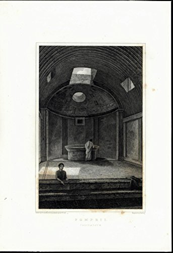 (Calidarium Sunroof Dome Ceiling Pompeii Italy antique c. 1832 old engraved print)