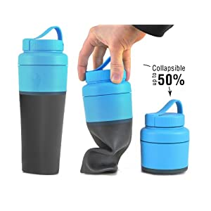Light My Fire Collapsible Pack-Up Water Bottle, Cyan
