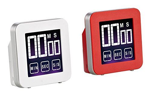 (Cook N Home Touch Screen Digital Kitchen Timer Red and White, 2-pack)