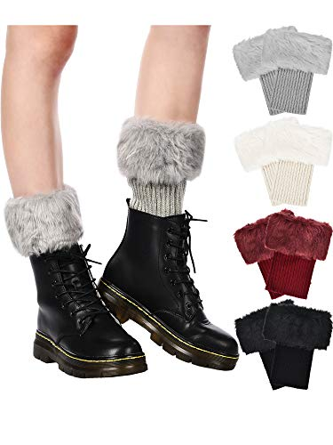 Pangda 4 Pairs Women Faux Fur Boot Cuff Short Furry Leg Warmers Girls Winter Socks Knitted Boot Socks, 4 Colors -