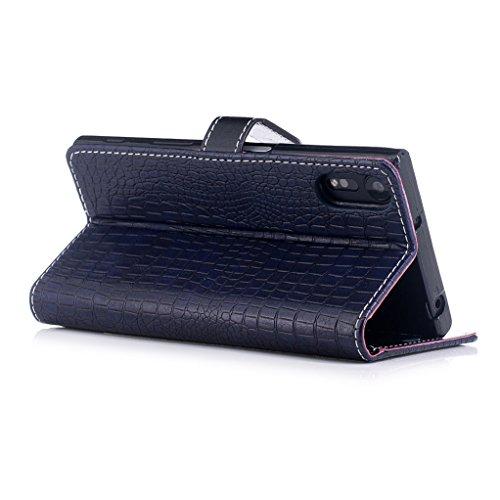 Trumpshop Smartphone Carcasa Funda Protección para Sony Xperia XZs [Vino Rojo] Patrón de Piel de Cocodrilo PU Cuero Caja Protector Billetera Choque Absorción Azul Profundo