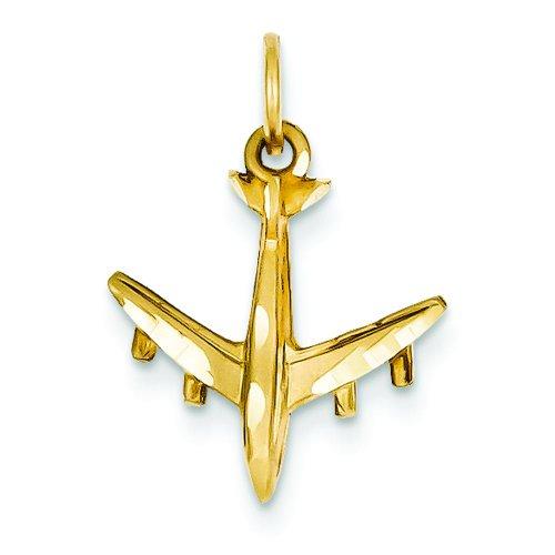 14K Gold Airplane Charm Jewelr