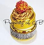 Tangy silver and gold embellished empty glass jar 0.7 OZ
