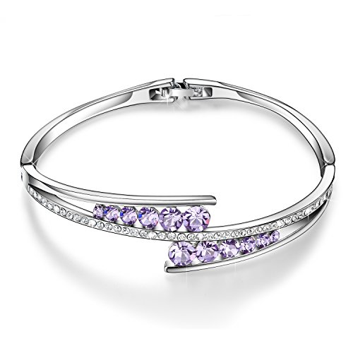 April Costume 2016 (Menton Ezil 925 Silver Plated Bangle With Purple Amethyst Round Shape Made With Swarovski Crystals Diamond Bracelets Silver-Tone Jewelry for Mother Womens Girls Gifts for Her Anniversary)