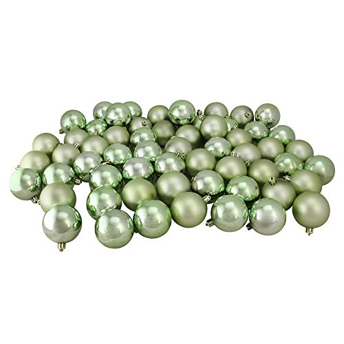 Northlight 60ct Celadon Green Shiny SND Matte Shatterproof Christmas Ball Ornaments 2.5