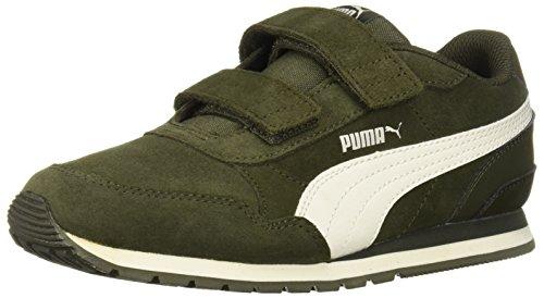 PUMA Unisex ST Runner SD Velcro Kids Sneaker, Forest Night-Whisper White, 2 M US Little -