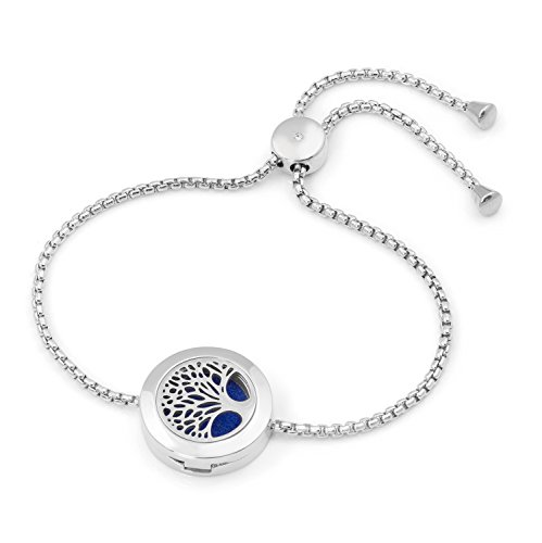 Adjustable Tree of Life Diffuser Bracelet, Chain Bracelet, 20mm Locket, 9 Diffuser Pads, Branded Bag. (Silver)