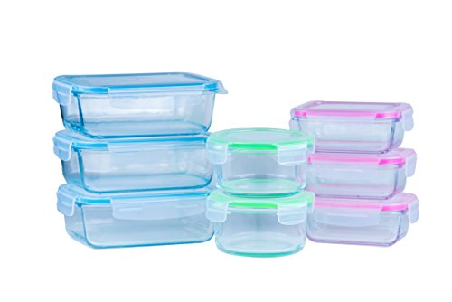 Elacra Glass Food Storage Containers Oven Safe Microwavable BPA-Free Spill Proof Airtight Lids (8 Pack) (Oven Safe Small Glass Bowls compare prices)