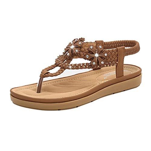 (Aunimeifly Women's Soft Comfty Bottom Bohemian Sandals Rhinestone Flats Clip-Toe Weaving Elastic Band Shoes Brown )