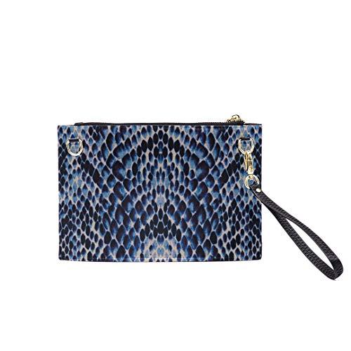 (Handbag Shoulder Bags Envelope Clutch Blue White Black Snake Skin Texture Clutch Purse For Women Wrist Leather Zipper Crossbody Bag Satchel Purse With Detachable Shoulder &wrist Straps)