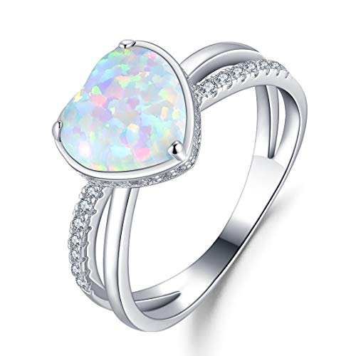 FANCIME 925 Sterling Silver Heart Shaped Opal Halo CZ Cubic Zirconia Ring for Women Girls, Size 5