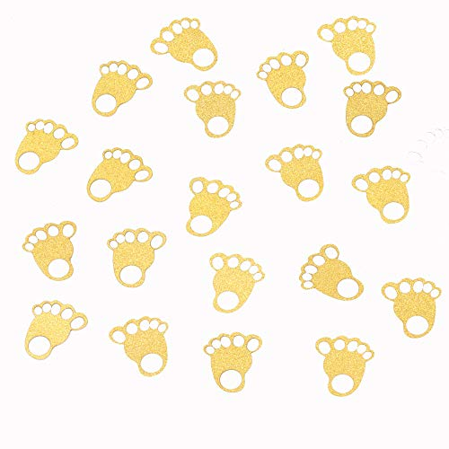 ZOOYOO Glitter Gold Baby Feet Confetti Paper Table Confetti for Baby Showers Pack of 100 - Feet Baby Shower