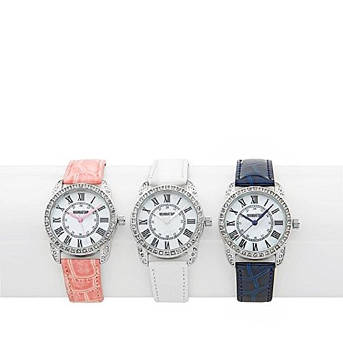 Manhattan by Croton Set of 3 Silvertone Crystal Bezel Croco-Embossed Leather Strap (Crystal Bezel Croton)