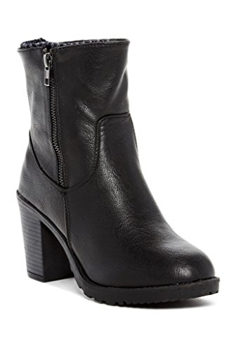 Carrini CA Collection Womens Fashion Ribbed Knit Cuff Heeled Boots, Black, Size 8, US Chunky Knit Boot