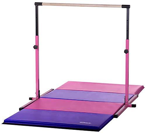 Nimble Sports Pink Adjustable Gymnastics Bar and 4 Feet X 8 Feet Pink and Purple Gymnastics Mat (Nimble Sports Gymnastics Bar)