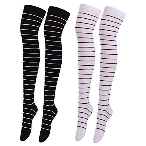 Haoohu 2 Pairs Womens Black White Socks Over Knee Rainbow Stripe Thigh High Socks -
