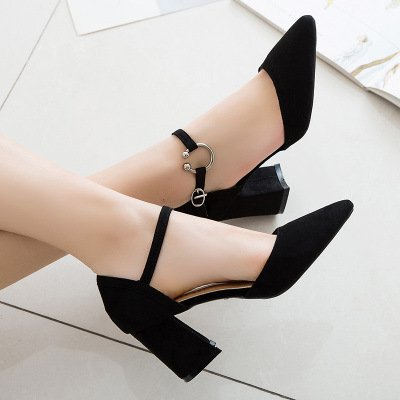 Zapatos de retro sandalias rugosa verano retro black puntiaguda cavidad y yalanshop Baotou sandalias dHtqwdE5