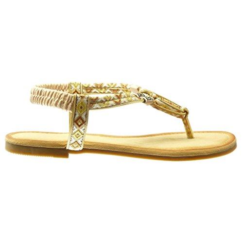 Angkorly - damen Schuhe Sandalen - T-Spange - Geflochten - bestickt Blockabsatz 1.5 CM - Beige
